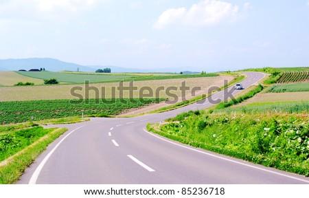country road in Biei,Japan - stock photo