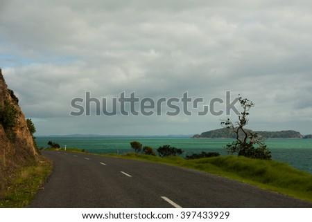 Country road in New Zealand, Coromandel - stock photo
