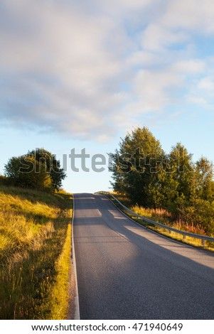 Country road in sunset