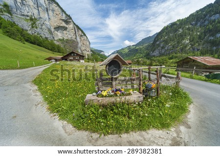 Country road in Swiss - stock photo