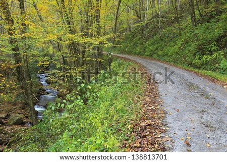 Country Road in the Fall Beside the Stream - stock photo