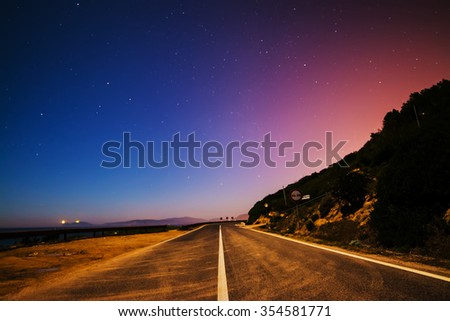 country road on a starry night in Sardinia