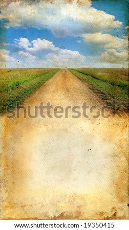 Country Road on Grunge Background with lots of copy-space for your text. - stock photo