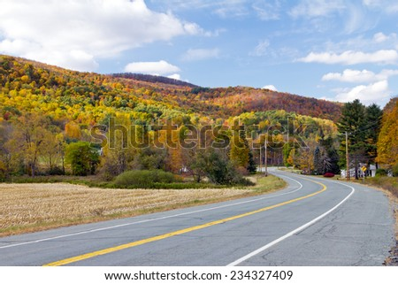 Country road through the Fall forest in Vermont - stock photo
