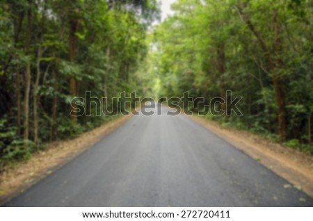 Country Road To The Jungle with Blur Selective focus   - stock photo