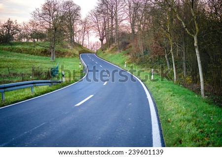 Country Road winding through a forest landscape - stock photo