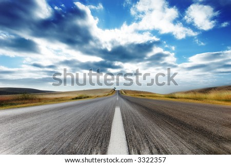 Country Road with Motion Blur - stock photo