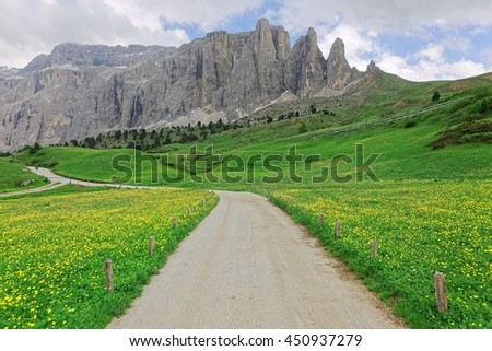Country roads on green meadows of wildflowers at the foothills of rugged Alpine mountain peaks~ Idyllic view of Sella Tower mountain range in Dolomites, Trentino, Alto Adige, South Tyrol, Italy Europe - stock photo