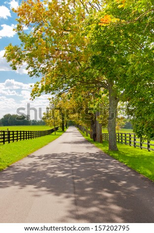 Country scenery on beginning of autumn season - stock photo