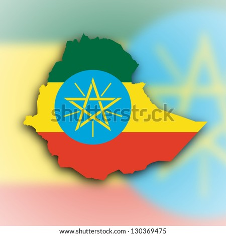 Country shape outlined and filled with the flag, Ethiopia