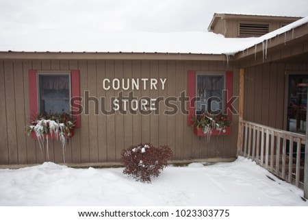 Country Store Icy Windows and Snow
