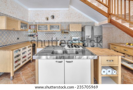 Country style kitchen - stock photo