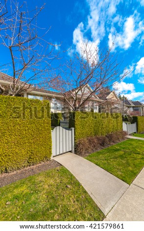 Country style long green fence with the gate, wicket and a house behind. long Nicely trimmed green fence, bushes. - stock photo