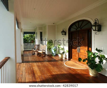 country style porch and furniture - stock photo