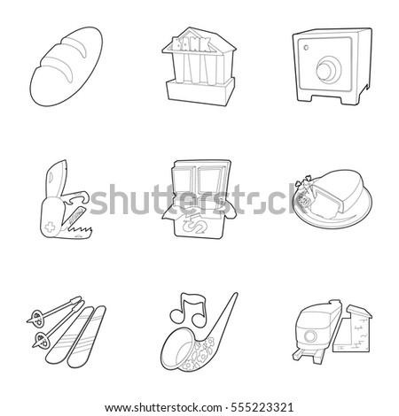 Country Switzerland icons set. Outline illustration of 9 country Switzerland  icons for web