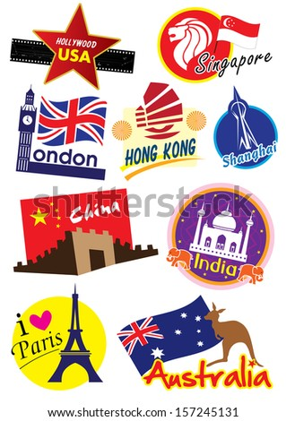 Country symbol  icon collection set - stock photo