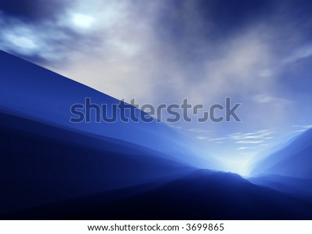 Country Valley with Storm Clouds Gathering - stock photo