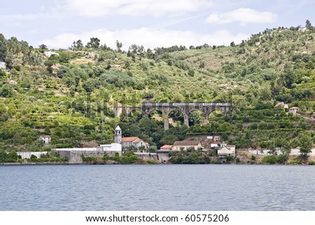 Country villages along the Douro River banks - stock photo