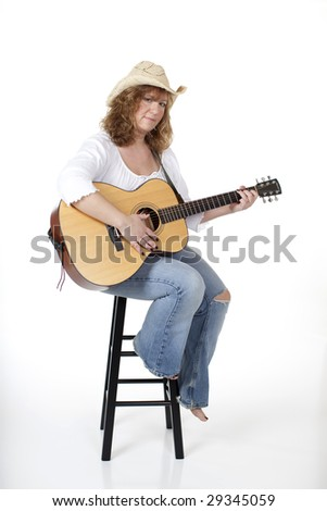 Country Woman Playing Guitar