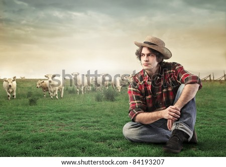 Countryman sitting on a green meadow with animals in the background - stock photo