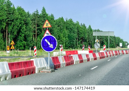Countryside asphalt road reconstruction - stock photo
