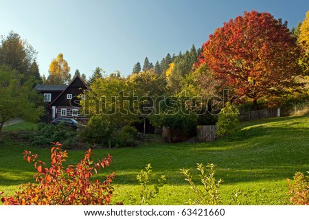 Countryside during the autumn time, sunny day. - stock photo