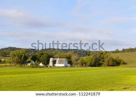 Countryside Farm in the morning - stock photo