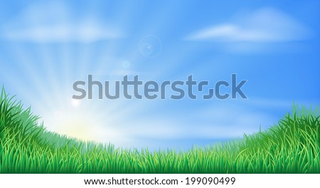Countryside field and sun rise background with beautiful blue sky - stock photo