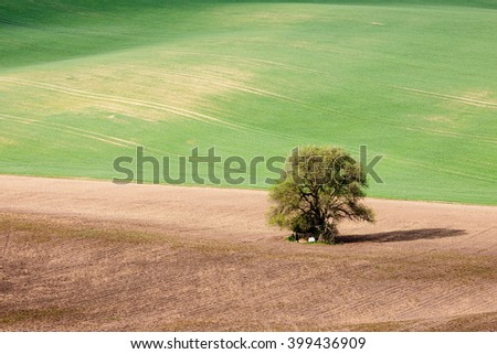 Countryside green farmland landscape - stock photo