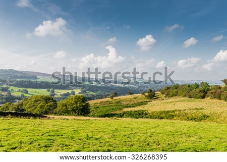 Countryside in England, Peak District National park in sunny autumn day.