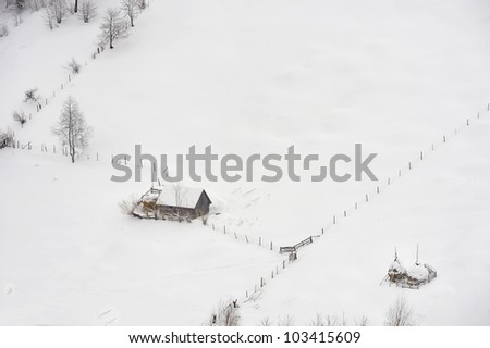 countryside in winter time - stock photo