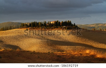 Countryside landscape after storm, Tuscany, Italy  - stock photo