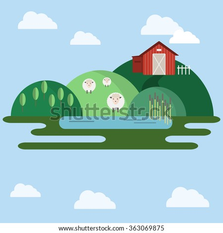 Countryside landscape view. Farm animals on the field near red barn. Green hills in the skies with clouds. Flat cartoon style raster illustration. - stock photo