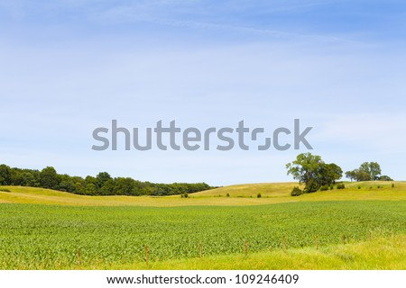 Countryside Landscape With Blue Sky - stock photo
