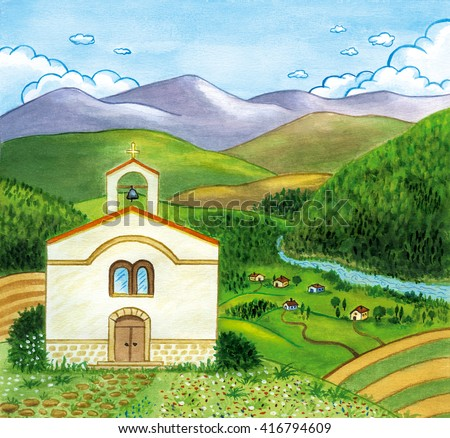 Countryside landscape with church and small village beside a river. Watercolor illustration.