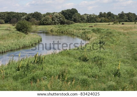 countryside landscape with river - stock photo