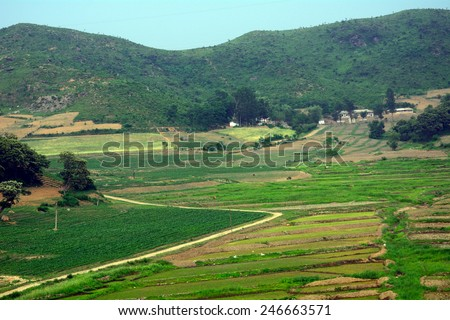 Countryside, North-Korea - stock photo