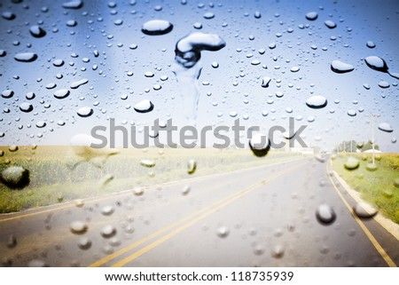 Countryside Road on Rainy Day - stock photo