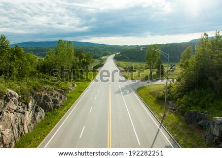Countryside road, Quebec, Canada - stock photo