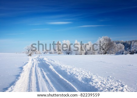 Countryside road through winter field with forest on a horizon - stock photo