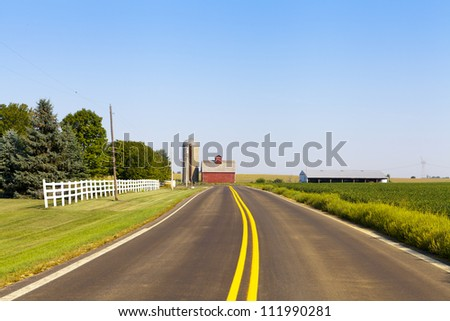 Countryside Road With Blue Sky - stock photo