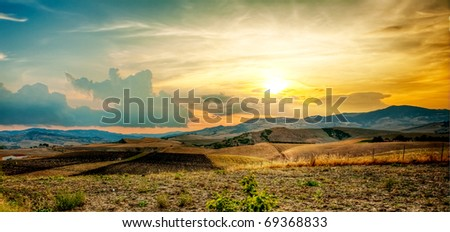 countryside scenery at sunset - stock photo
