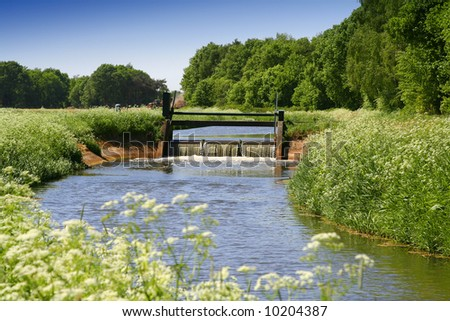 Countryside. Sluice with a natural stream with verge of beautiful white flowers. - stock photo