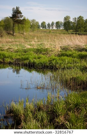 countryside spring view: near the river - stock photo