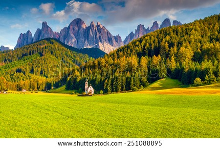 Countryside view of the St. Magdalena or Santa Maddalena in the National Park Puez Odle or Geisler summits. Dolomites, South Tyrol. Location Bolzano, Italy, Europe. - stock photo