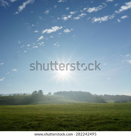 countryside with sky clouds and sunlight (5) - stock photo