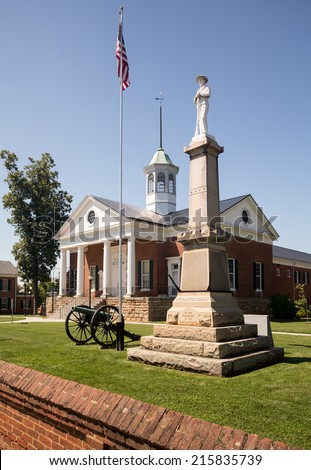 County courthouse and memorial to confederate soldiers in Appomattox, Virginia, USA - stock photo