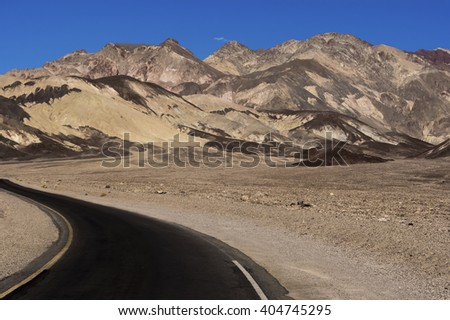 County Road, Death Valley- County Road in Zabriski Point in Death Valley National Park, California.  - stock photo
