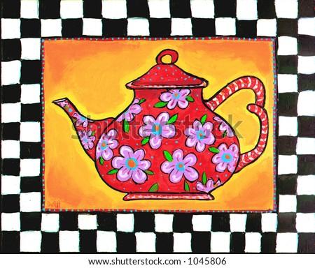 County style chintz teapot - stock photo