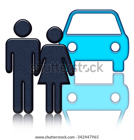 Couple and car - stock photo